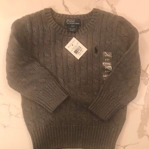 NWT Ralph Lauren Polo Gray Cable Knit Sweater 2T